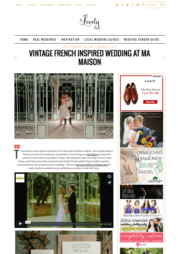 Vintage French Inspired Wedding at Ma Maison